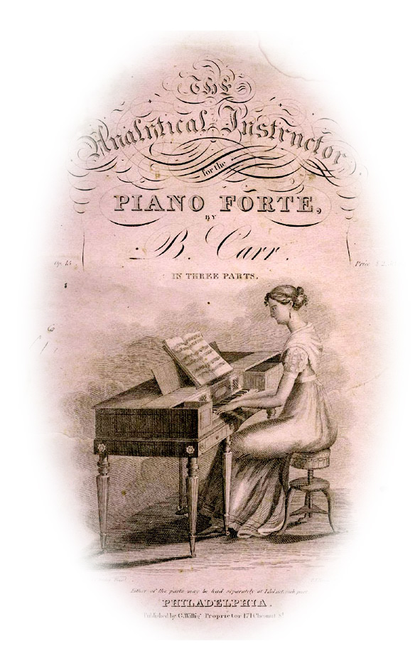 sheet music with square piano