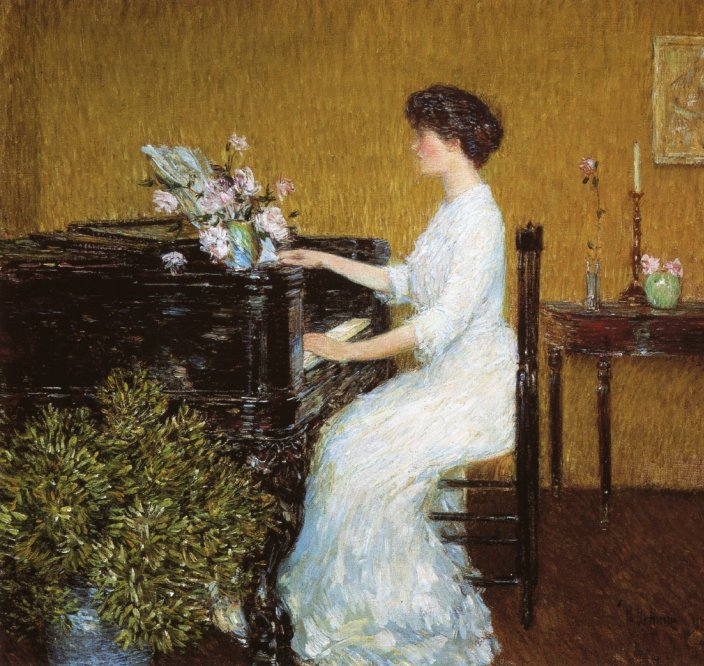 childe Hassam at the piano